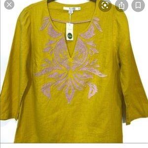 Boden Linen Tunic (NWOT) mustard yellow